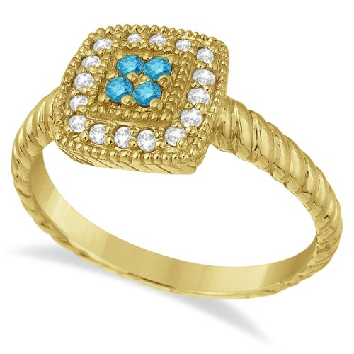 Blue and White Diamond Square Cocktail Ring 14k - 17GG05
