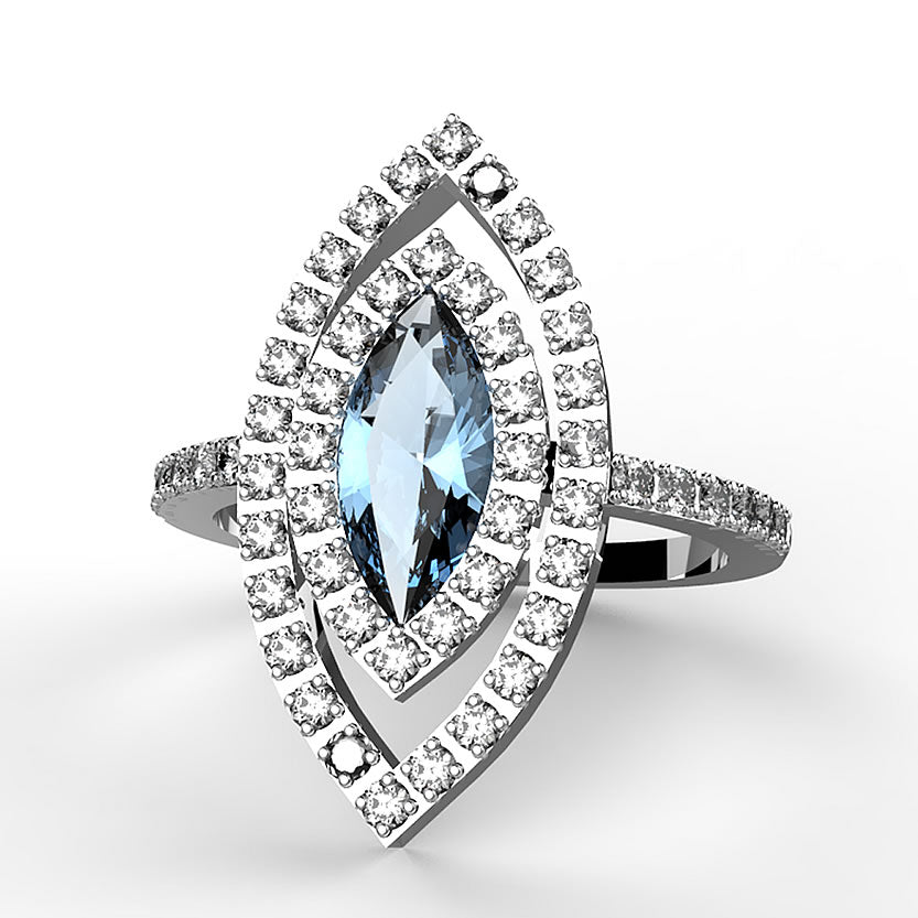 0.32ct Diamond and 0.78ct Blue Topaz 14k White Gold Ring - 17GG06