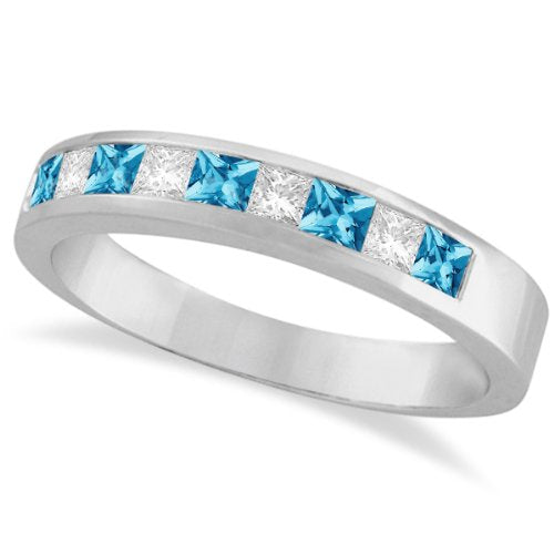 Princess Channel-Set Diamond and Blue Topaz Ring Band  - 17GG07