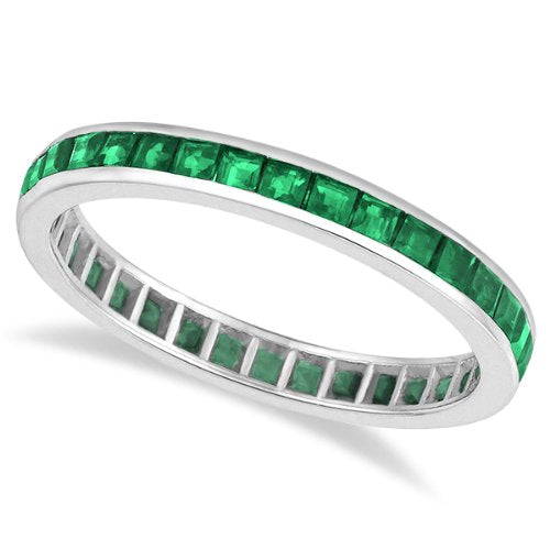 Princess-Cut Emerald Eternity Ring Band 14k White Gold - 17GG08
