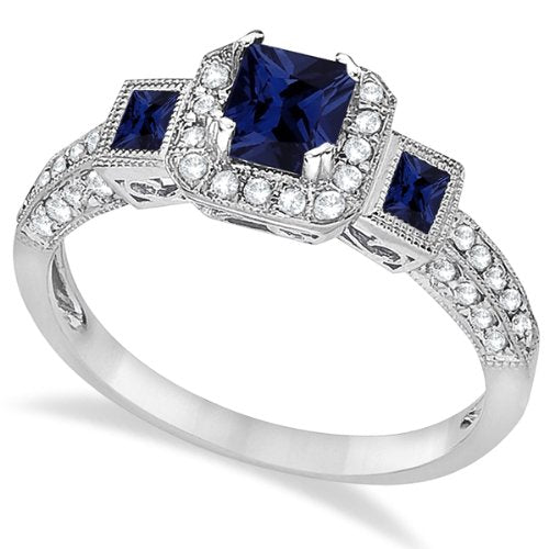 Blue Sapphire and Diamond Engagement Ring 14k White Gold  - 17GG10