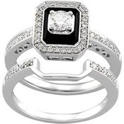 14K White Gold 1/10 Ct Tw Bridal Set - 17GG33