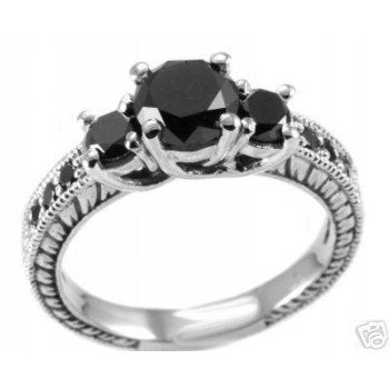 1.65ct Fancy-Black Diamond Engagement Ring - 17GG45