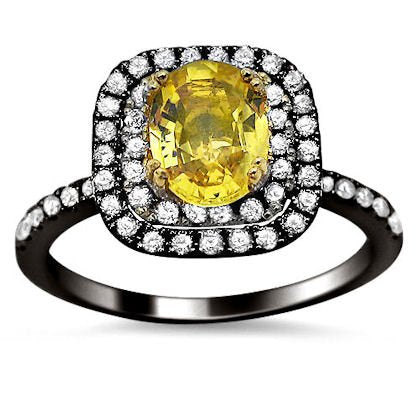 1.61ct Yellow Sapphire Oval Diamond Engagement Ring - 17GG54