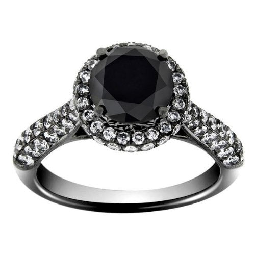 3.50 TCW 18k White Black Gold Round Cut AAA Black Diamond Engagement Ring - 17GG56