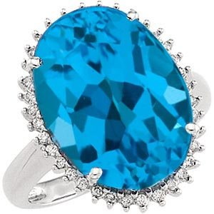 14k White Gold Swiss Blue Topaz and Diamond Ring - 17GG60