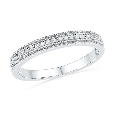 10KT White Gold Round Diamond Wedding Band - 17GG63