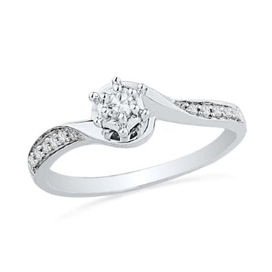 10KT White Gold Round Diamond Twisted Promise Ring - 17GG71