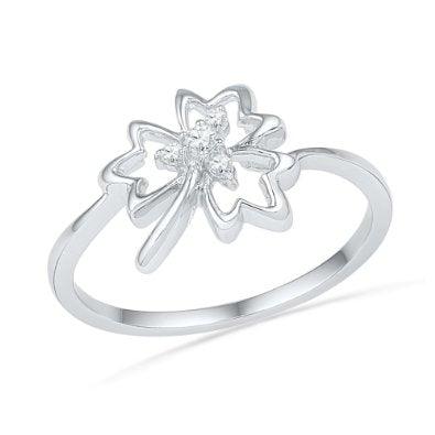 10KT White Gold Round Diamond Maple Leaf Ring - 17GG73