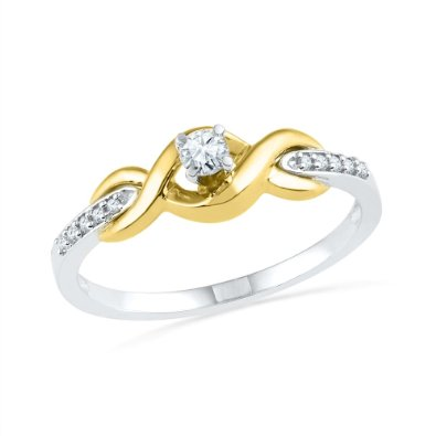 10KT Two Tone Round Diamond Twisted Promise Ring - 17GG78