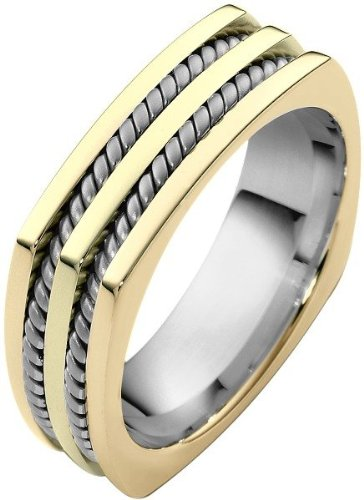 18 Karat Two-Tone Gold Comfort Fit Square Rope Style Wedding Band - 17GG82