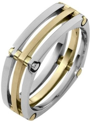 7mm Square Style 14 Karat Two-Tone Gold Wedding Band - 17GG83