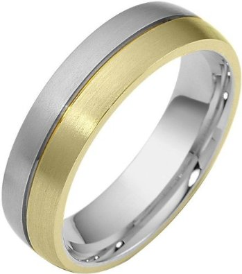 6mm Comfort Fit Two-Tone 18 Karat Gold Wedding Band - 17GG84