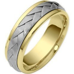 Wave Style 7mm Two-Tone 18 Karat Wedding Band - 17GG86
