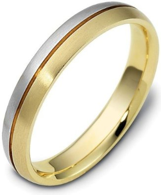 4mm Wide Designer Two-Tone 18 Karat Gold Wedding Band  - 17GG87