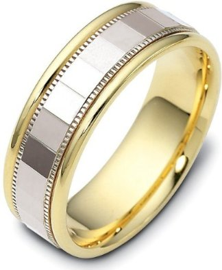 Multi Texture Two-Tone 18 Karat Gold 7mm Wedding Band - 17GG92