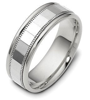 7mm Designer Platinum Comfort Fit Wedding Band Ring - 17GG94