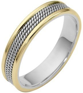 Rope Style 14 Karat Two-Tone Gold 5mm Wedding Band - 17GG95