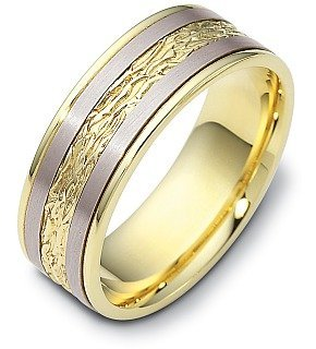 Comfort Fit Platinum and 18 Karat Gold 7mm Wedding Band - 17GG98