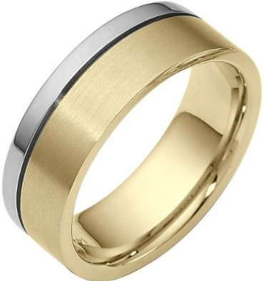 7.5mm Two-Tone 18 Karat Gold Wedding Band - 17GG99
