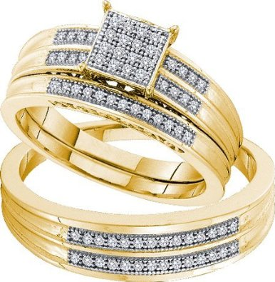 His and Her Trio Wedding set 0.26ctw diamond - 18GG11