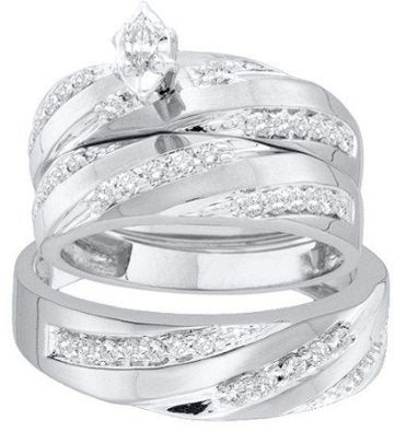 0.78ctw diamond marquise center trio set - 18GG23