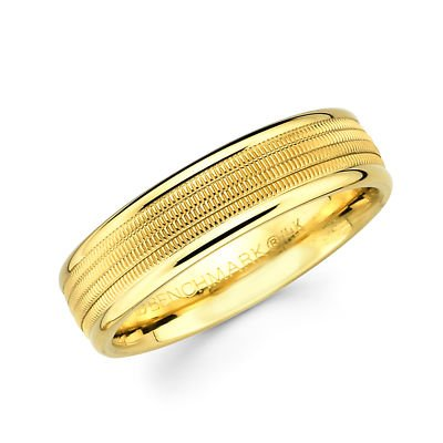 14k Yellow Gold Ladies Mens Milgrain Middle High Polish Wedding Band - 18GG27