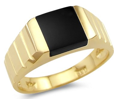 14k Yellow Gold  Square Onyx Ring Band - 18GG29