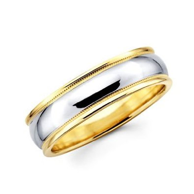 Two 2 Tone Gold Womens Mens Milgrain High Polish Wedding Ring Band - 18GG30