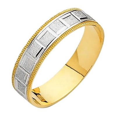 14K Yellow and White Two Tone Gold Satin Engraved Designer Wedding Band - 18GG37