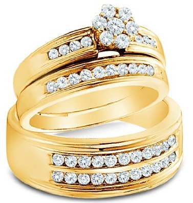 14k White OR Yellow Gold Diamond Flower Mens And Ladies Couple Ring Set - 18GG45