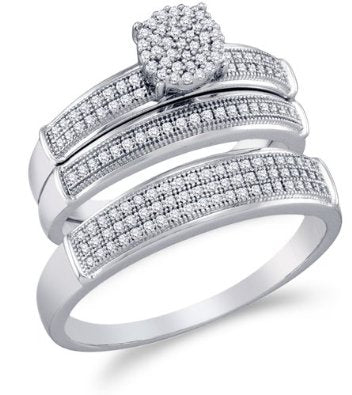 10K White Gold Diamond Mens and Ladies Couple Wedding Set - 18GG49