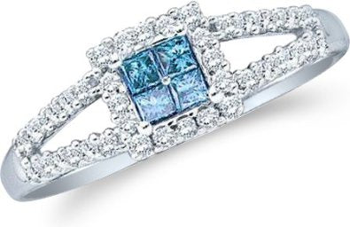 14k Yellow OR White Gold Blue Diamond Princess Engagement Ring - 18GG76
