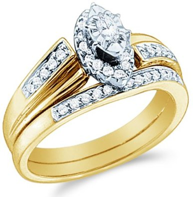 10k Yellow OR White Gold Diamond Ladies Womens Bridal Set - 18GG77