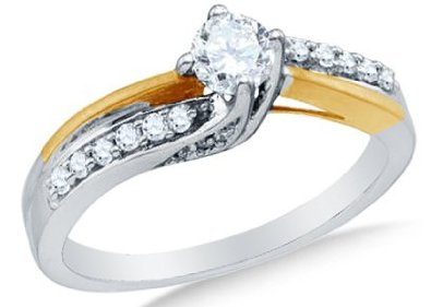 14k White OR Yellow Gold Diamond Engagement ring - 18GG81