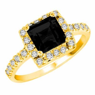 14K Gold Square Created Black Diamond Engagement - 18GG89