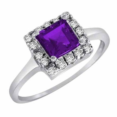 14K Gold Round Square Amethyst and Diamond Engagement Ring - 18GG90