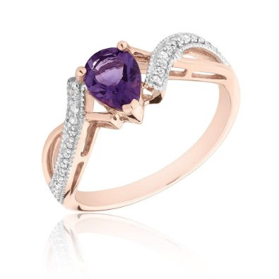 Pear Amethyst and Diamond Rose Gold Ring - 19GG03