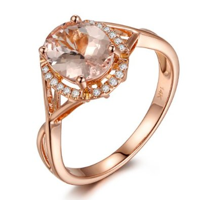 14K Rose Gold Oval Cut 6x8mm Morganite and Diamond Engagement Ring -19GG06