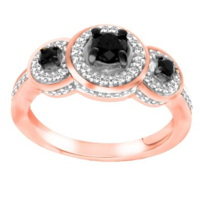 Black & White Diamond Three Stone Halo Ring - 19GG07