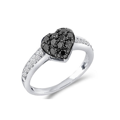 Black Diamond Heart Ring - 19GG08