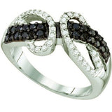 0.76 Carat (ctw) 10k White Gold Black & White Diamond Ring - 19GG09