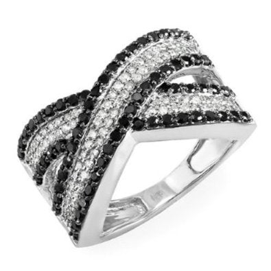 1.00 Carat (ctw) 10k White Gold Round Black & White Diamond Ring - 19GG12