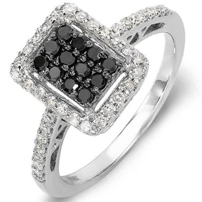 0.55 Carat (ctw) 10k White Gold Black & White Diamond Ring - 19GG15