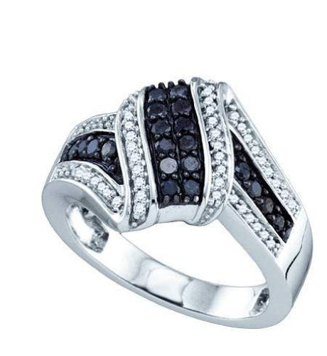 10k White Gold Black Colored & Natural Round Diamond Ring - 19GG16
