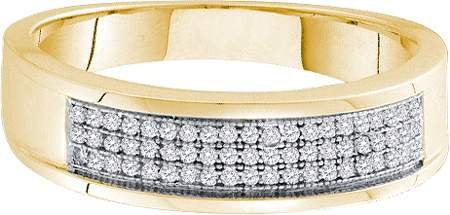 Yellow Gold Round White Diamond Micro Pave Men's Wedding Band - 19GG26