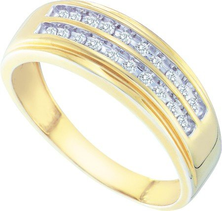 10K Yellow Gold Round White Diamond Men's Ring - 19GG27