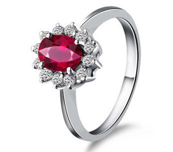 0.71ct Natural Ruby/Diamond Engagement Ring - 19GG57