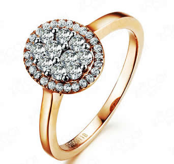 18k Rose Gold Engagement Ring - 19GG84