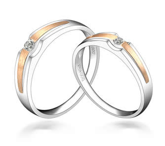 2 Tone 18k Gold Couple Ring -19GG88